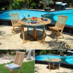teak garden furniture Folding Chair Round Butterfly Table 120
