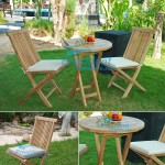 teak garden furniture Folding Chair Round Folding Table 60