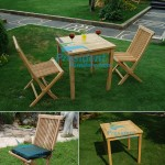 teak garden furniture Folding Chair Square Fix Table 90x90