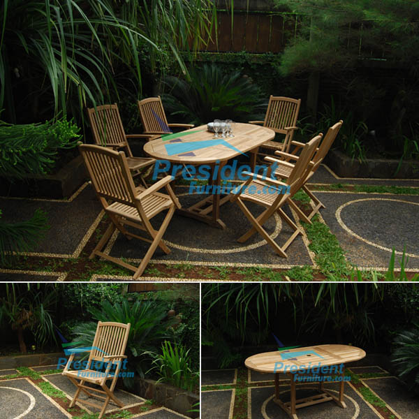 teak garden furniture Oval EXT Table 180-240x120 Lombok Folding Arm Chair