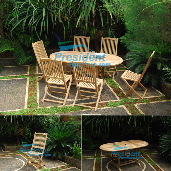 teak garden furniture Oval EXT Table 180-240x120 Lombok Folding Chair