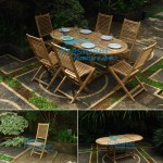 teak garden furniture Oval EXT Table 180-240x120 Polo Folding Chair