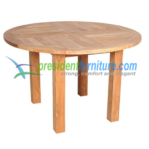 teak garden furniture Fix Base Round Table 120