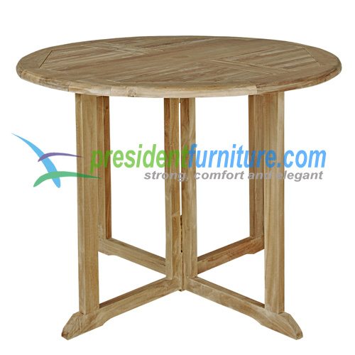 teak gareden furniture Round Butterfly Table 100 Small Slat