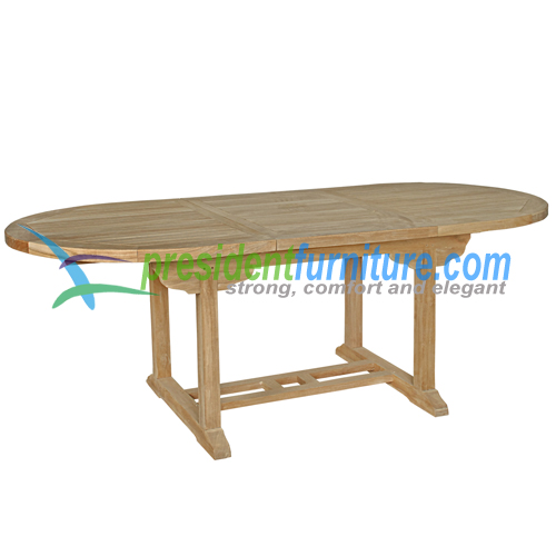 teak garden furniture Oval Ext Table 150-210x100  (4cm Top)