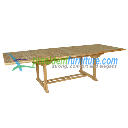 teak garden furniture Recta Double Ext Table 200-300x110 Cross Thin Slat 3,5cm Thick