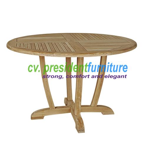 teak garden furniture Round Dinning Table Unique Legs
