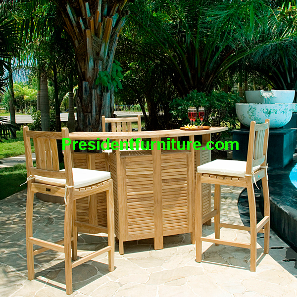 teak garden furniture Cushion Bahama Bar Chair Set