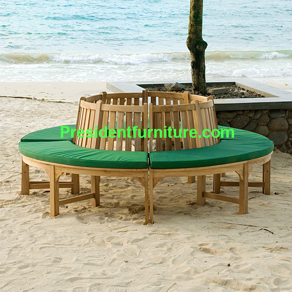 teak garden furniture Cushion For Round Tree Bench