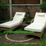 teak garden furniture Cushion For Wicker Sun Lounger