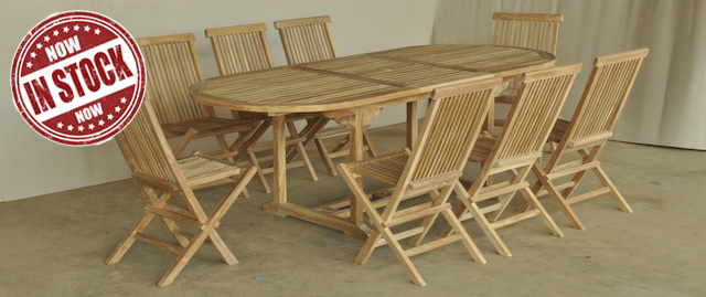 Set Oval Extending Table 180 240x100 And 6 Folding Chair