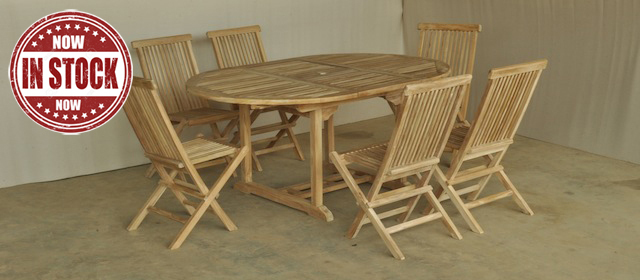 Set Round Extending Table 120-170x120 cm and 6 Folding Chair