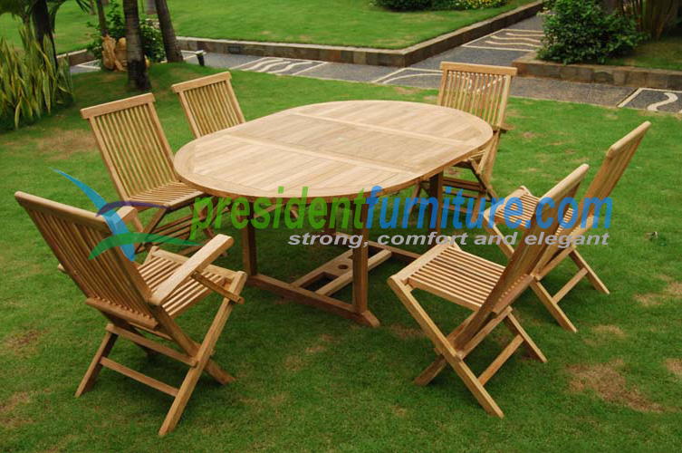 Teak garden furniture best seller 6 seater folding chair set
