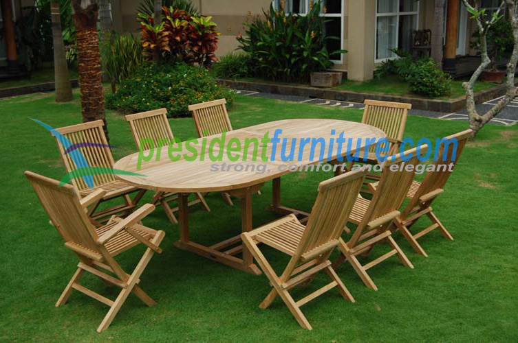 Set Teak Folding chair with Oval Extending Table