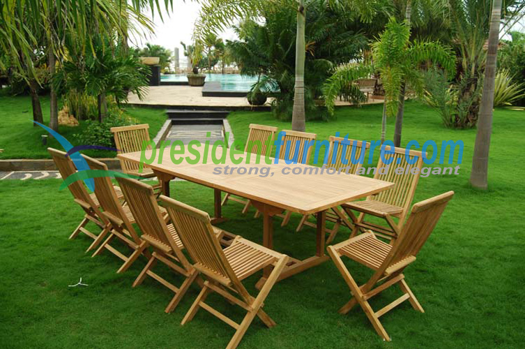 Teak garden furniture best seller 10 seater folding chair set