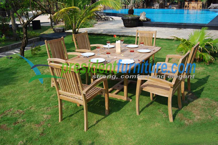 Teak President Stacking with Rectangular ext. table