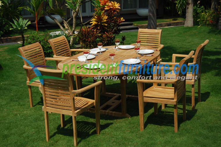 Teak Stacking best seller 6 seater